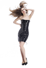 Adult Sexy Black Catsuit With Zipper Strapless Clubwear Woman Hot Pole Dance Costume Leotard  Pencil Skirt For Girls XL Size