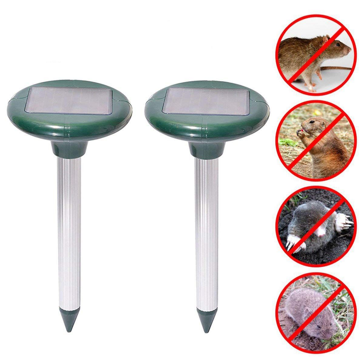 2 Pcs Mole Repeller Ultrasonic Solar Snake Gopher Repeller Mice Rats Rodent for Lawn Garden Yards(China)