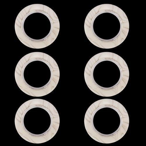 6pcs Plastic Ring Round-shaped eyelet curtain Beige / marbling Pattern