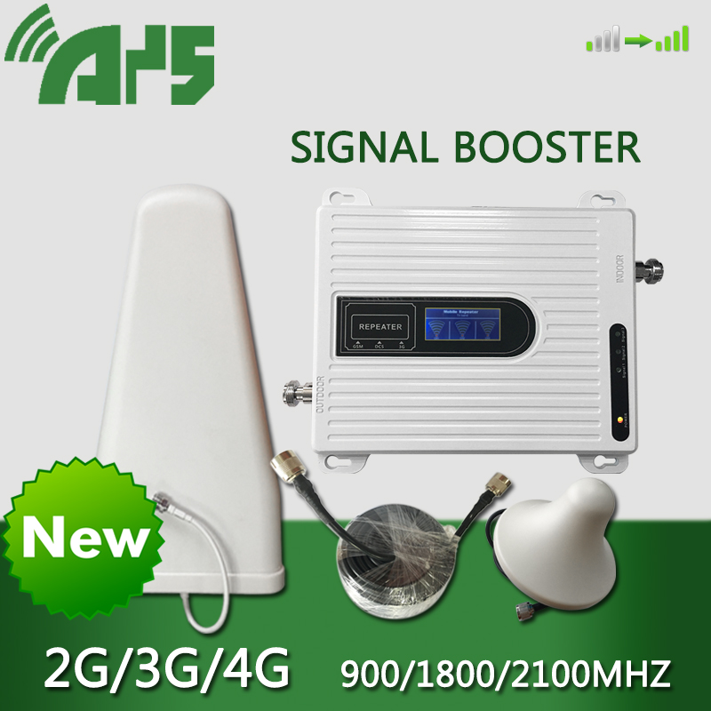 900, 1800, 2100 mhz, amplificador de señal 2G 3G 4G 70dB repetidor Tri banda celular amplificador de señal GSM DCS LTE WCDMA para teléfono móvil