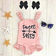 Летняя детская одежда для купания для маленьких девочек Купальник с принтом в виде надписи, купальник-бикини для маленьких девочек купальный костюм с рюшами