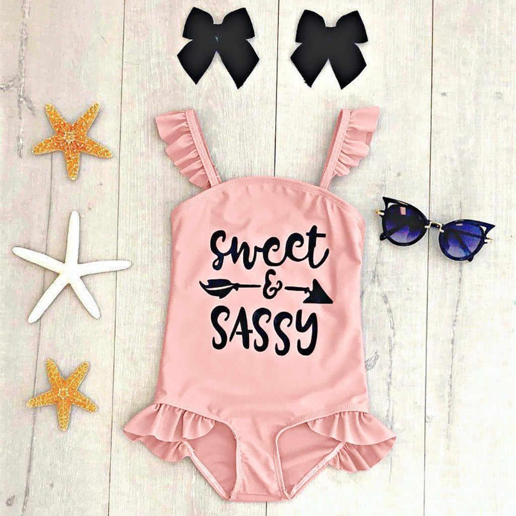 Musim Panas Bayi Anak-anak Gadis Pakaian Renang Ruffles Huruf Cetak Baju Renang Bayi Perempuan Berenang Baju Renang Bikini Jamur Ruched Balita Pakaian