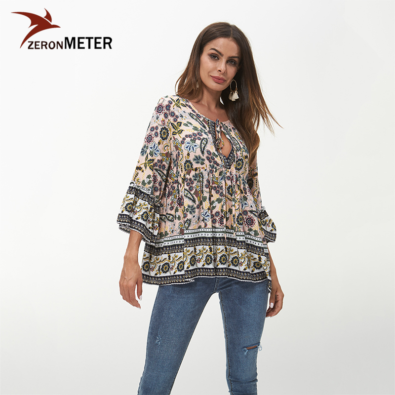 Elegant Women Boho Top Bohemian 2018 Summer Vintage Floral Print Blouse Shirt Flare Sleeve Sexy Tied Up V Neck Plus Size Tops