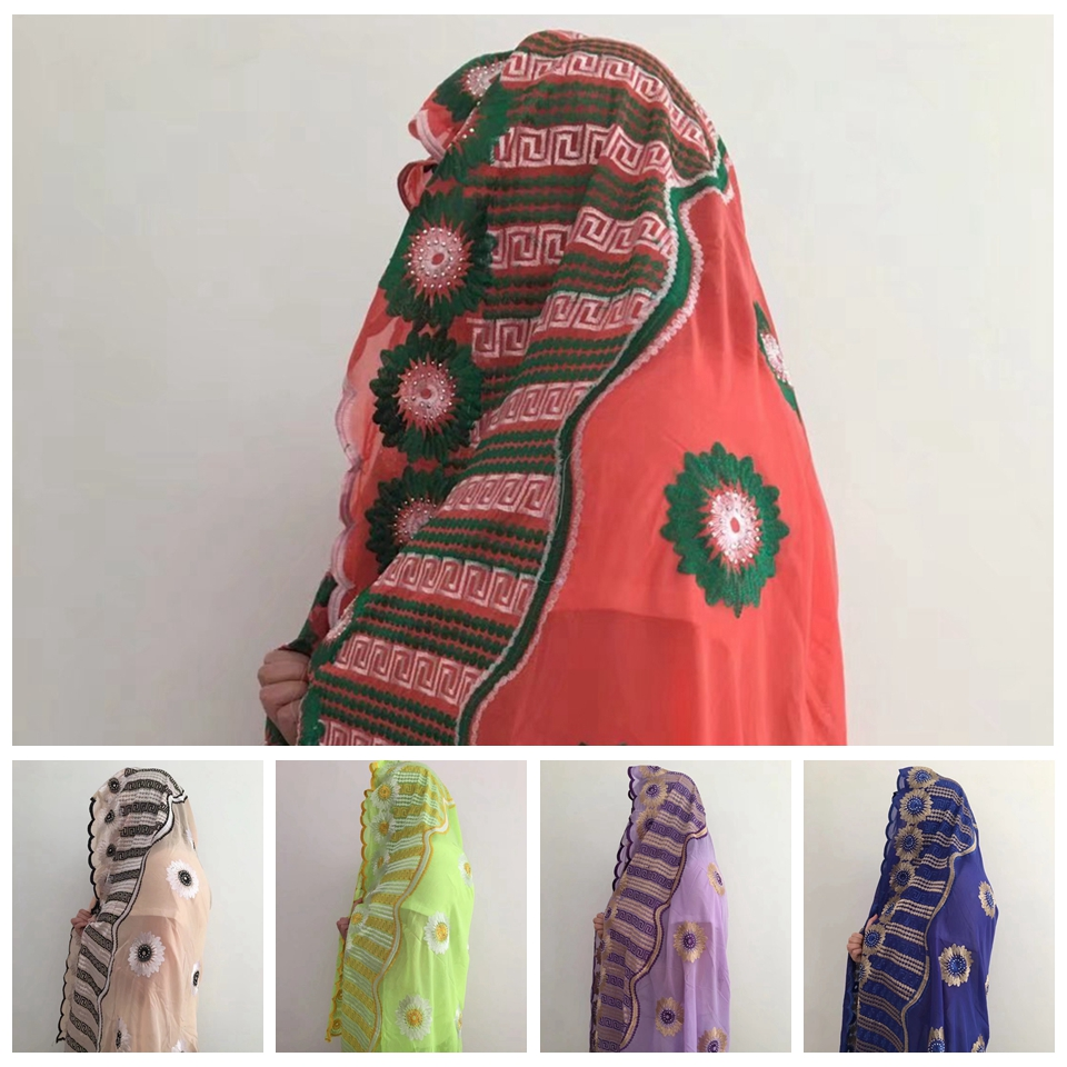 Hot Selling Soft Chiffon Material African Headtie Scarf Muslim Scarves In 5 Colors MOXF-6