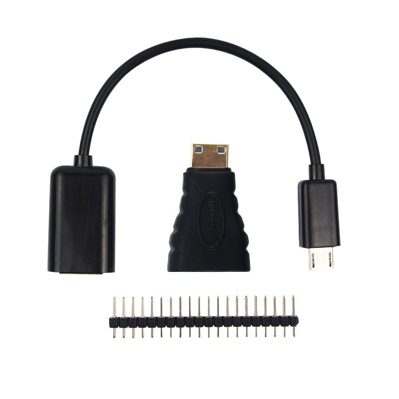 3 in 1 Raspberry Pi Zero W Kit Mini HDMI to HDMI Adapter+Micro USB to USB Female Cable+Male GPIO Header