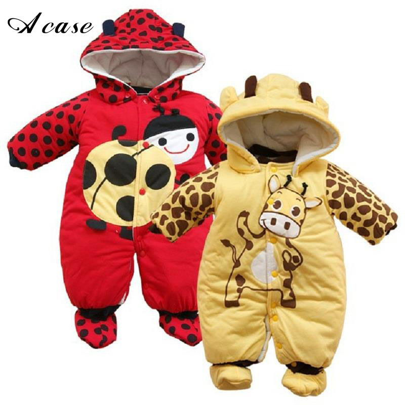 2018 Fashion Newborn Baby Clothing Autumn Winter Boys Cotton Coat Cartoon Animal Cotton-Padded Infant Girls Jumpsuit Warm Romper cotton baby rompers set newborn clothes baby clothing boys girls cartoon jumpsuits long sleeve overalls coveralls autumn winter