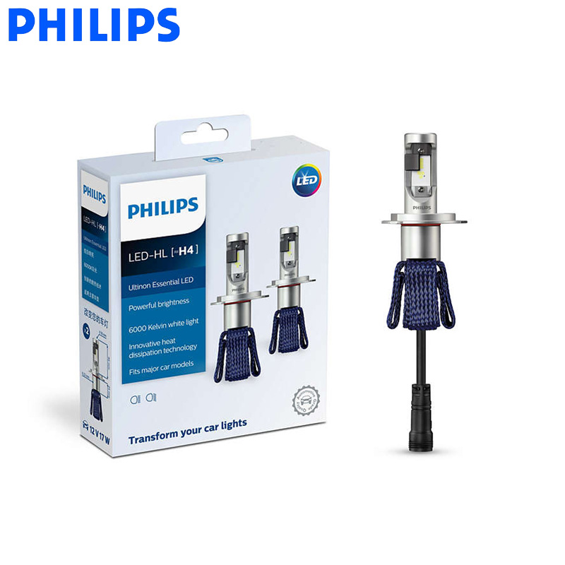Philips LED H4 9003 Ultinon Essential LED Hi lo Beam 6000K Bright White Light Car Headlight
