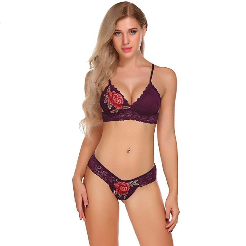 5063e346a9 Floral Embroidery Lace Bra Bralette Set With Thong Brief Women Sexy  Lingerie Set Intimates Sexy Erotic Hot Underwear Nightwear Y
