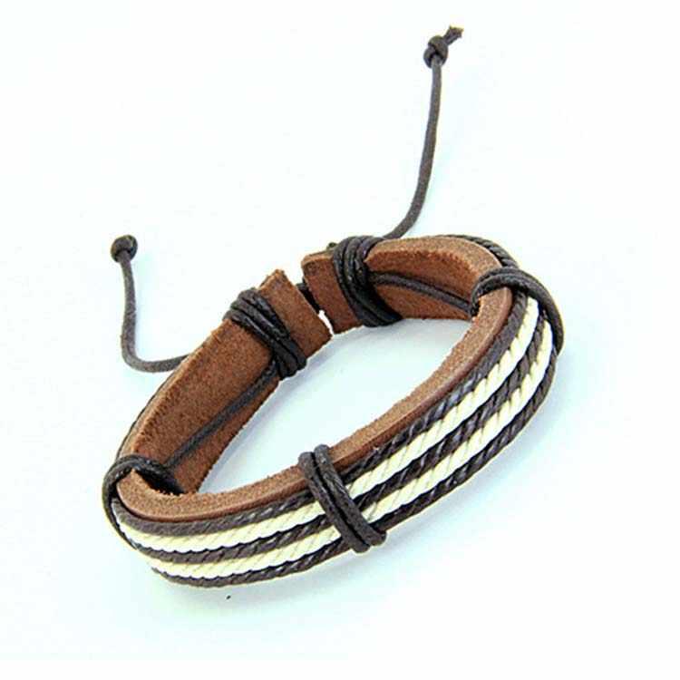 2019 Новое поступление, горячая распродажа мужской моды мужские браслеты пять воск веревки ручной работы кожа коричневый цвет браслет Прямая доставка