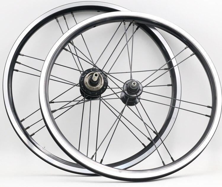 Une paire 16x1 3/8 (349) noir 2/3 vitesse lumière Roues poids 14/21 trou 820g pour vélo brompton