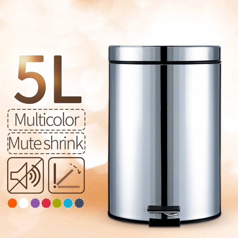 ANHO 5L Round Bins Stainless Steel Rubbish Can Foot Pedal
