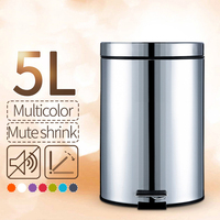 ANHO 5L Round Bins Stainless Steel Rubbish Can Foot Pedal Type Dustbin Eco Friendly Bathroom Trash