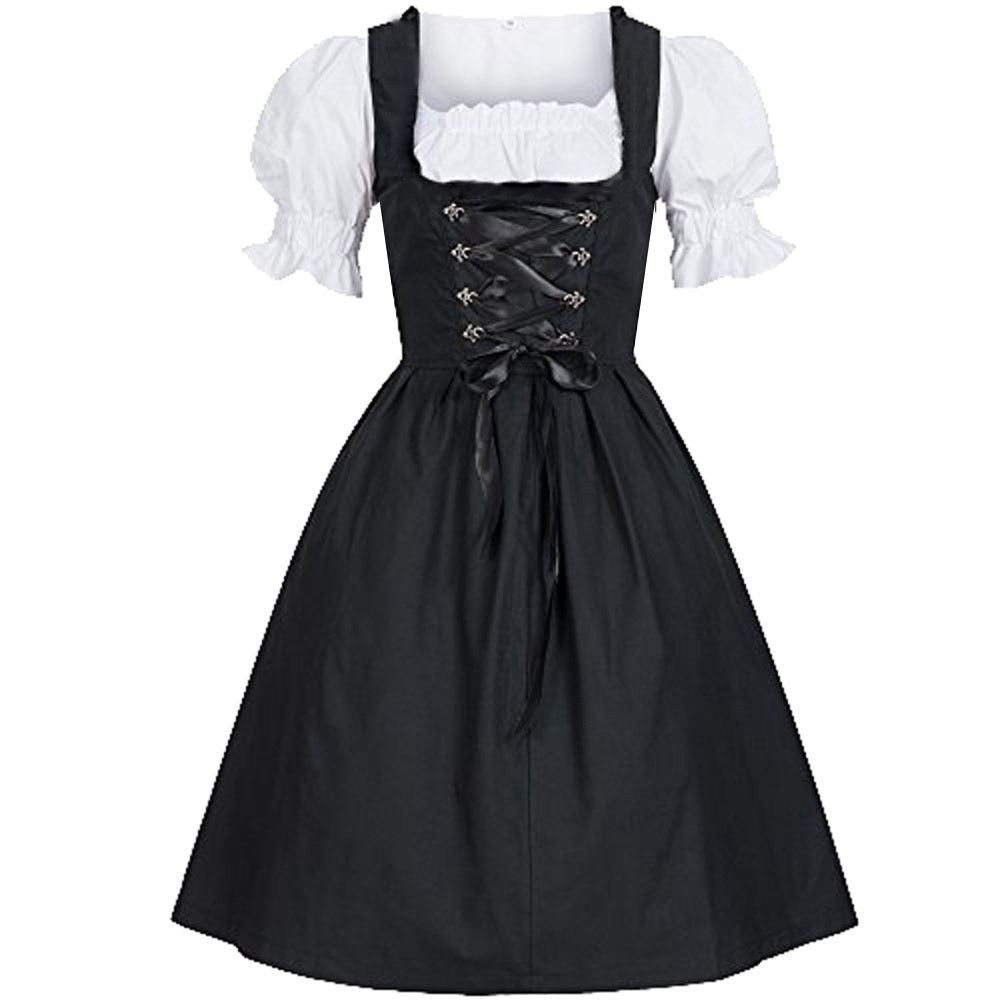 Womens sexy party drss Germany Tradition Oktoberfest Costume Bavarian Beer Girl Drindl Tavern Cosplay Maid Dress with Apron #F