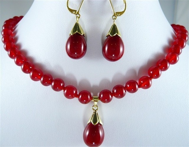 509972943145 Fashion Women S Butterfly Noblest Natural 10mm Red Ruby Gemstones Necklace  Earring