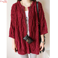 hollow out loop yarn fluffy long cardigans sweater women leisure winter tops dropped shoulder lina mina