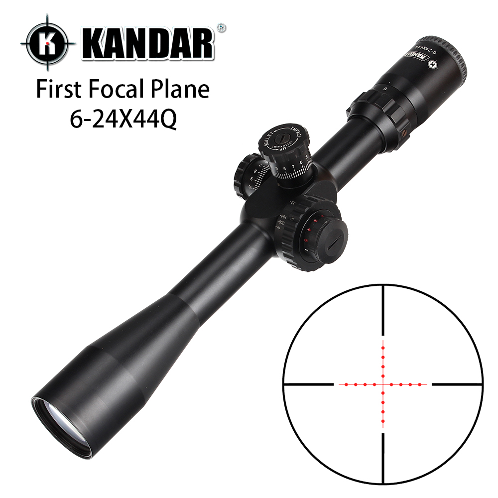 KANDAR 6-24X44Q First Focal Plane Hunting Riflescopes Side Parallax Mil Dot Illuminated Glass Etched Reticle Turrets Reset Scope