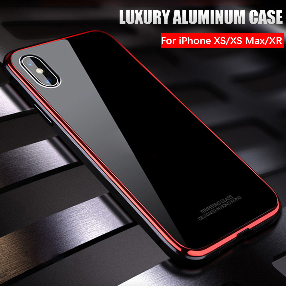 buy popular 95524 48988 US $11.68 20% OFF|Luxury Ultra thin metal bumper case For Apple iphone XS  Max case shockproof armor Tempered glass cover for iphone XR XS X coque -in  ...