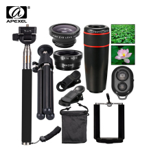 10in1 Phone Camera Lens 12x Lenses Fish Eye Fisheye Lentes Wide Macro Lenses Selfie Stick Monopod Tripod for Xiaomi iPhone Lens