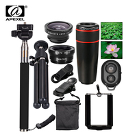 10in1 Phone Camera Lens 12x Lenses Fish Eye Fisheye Lentes Wide Macro Lenses Selfie Stick Monopod