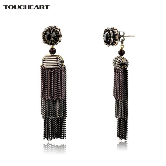 Toucheart Brown Crystal Imitation Adjule Brand Jewelry Gifts Elegant Tel Statement Drop Earrings For Women Ser160134