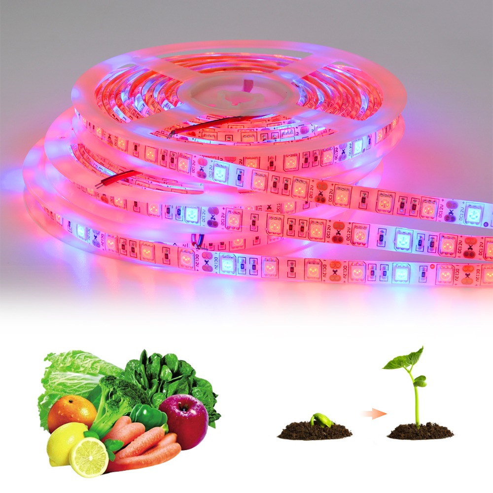5M LED Grow Light Strips Full Spectrum Indoor Plant Grow Lights for Greenhouse Hydroponic Plants Vegetables Flower Growing lamp 5pcs 200 led grow light indoor plant growing lights e27 lamp for plants seeding flower vegetable hydroponic system greenhouse