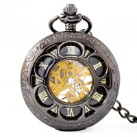 Full Metal Pocket Watch Men Women Vintage Retro Necklace Pendant Fob Watch Carved Chain Clock Hollow Mechanical Pocket Watches
