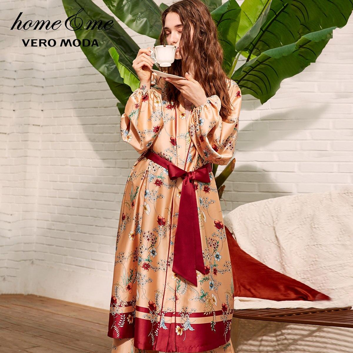 Vero Moda 2019 New Women's Drapery Printed Nightgown Bridesmaid Bathrobe | 3183R1501