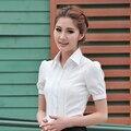 2017 del verano más el tamaño de la gasa de la camisa blanca femenina camisa de herramientas de manga corta camisas de ropa de trabajo profesional de las mujeres