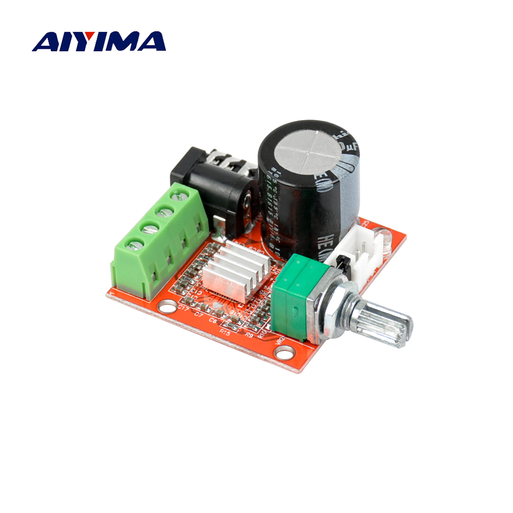 Aiyima 12V Mini Hi-Fi PAM8610 Audio Stereo Amplifier Board 2X10W Dual Channel D Class aiyima hi fi pam8610 audio amplifier board 15w 2 class d dual channel digital amplifier board dc12v