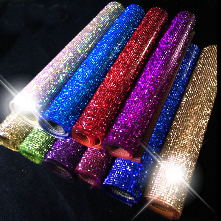 factory 24*40cm 2mm SS6crystal Beads Trims Rhinestone Iron On Transfer Design Mesh Strass Crystal Roll Wedding Bridal Decoration luces led de policía
