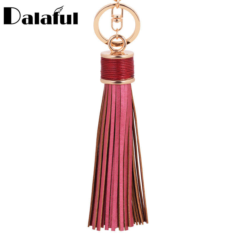 8 Colors Tassel Fringe Pu Leather Keychain Purse Bag Buckle HandBag Pendant For Car Keyring Holder Women Jewelry K226