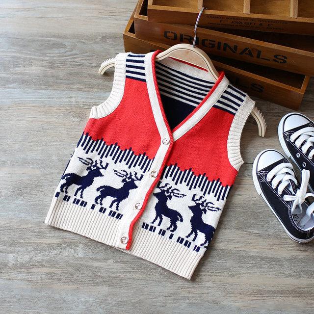 1-3Y Baby Boy Sweater single breasted Knitted striped deer Vest Children sweater coat Kids waistcoat kids boy  wool cardigan