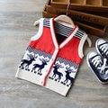 1-3Y Bebé Suéter de un solo pecho de Punto de rayas ciervos Niños Chaleco suéter de la capa Niños niños chaleco niño cardigan de lana