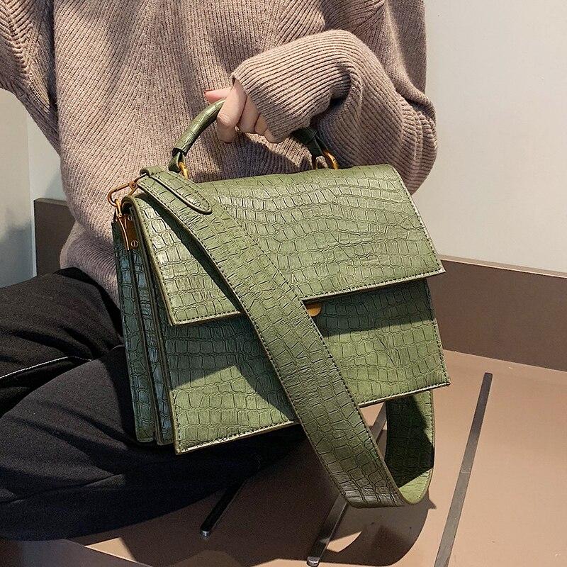 Wide Shoulder Strap Women's Handbag Fashion Crocodile Pattern Crossbody Bag 2019 Quality Alligator PU Leather Large Shoulder Bag
