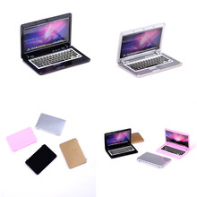 1PC Cute Simulation Mini Laptop Computer 1:12 Dollhouse Miniature Alloy Fashion Crafts Dollhouse Decoration Diy Accessories(China)