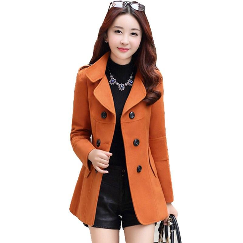 Ailegogo 2018 New Autumn Winter Women Woolen Coat Slim Double Breasted Medium Long Wool Blend Warm Female Overcoat