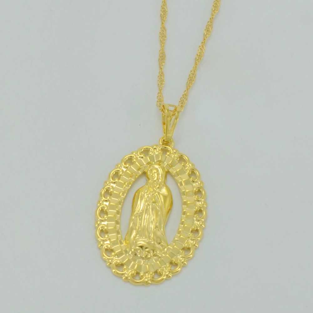 Anniyo naszej pani wisiorek naszyjniki dla kobiet/mężczyzn, złoty kolor maryi panny naszyjniki biżuteria katolicka kościół prezenty #033202