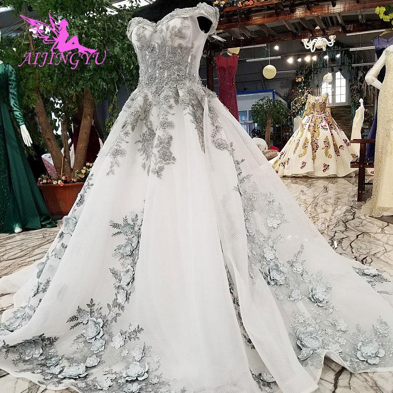 AIJINGYU Unique Wedding Gowns Plus Size Beautiful Tule