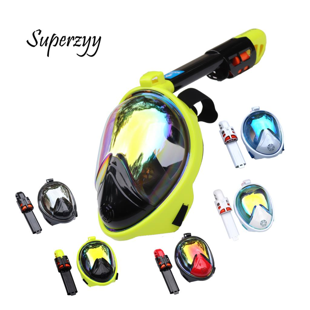 Scuba diving Mask Full Face Snorkeling Mask Underwater Anti-Fog tempered glass mask for Swimming spearfishing factory direct