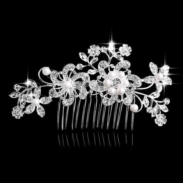 Charm Flower Rhinestone Hair Slide Floral Head Piece Pearl Wedding Hair Comb Cli