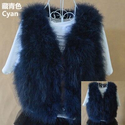 Новинка, женский жилет из натурального меха страуса, меховое пальто из страуса, Меховая куртка, много цветов,, низкая цена, F1092 - Цвет: cyan