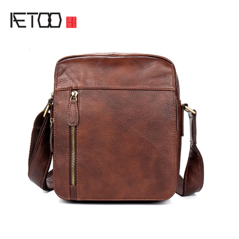 AETOO Casual men leather Messenger bag of the first layer of leather shoulder shoulder bag men s leather oblique cross chest packs of the first layer of leather deer pattern men s shoulder bag korean fashion men s bag