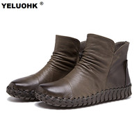 5 Colors Autumn Genuine Leather Shoes Women Boots Comfort Winter Shoes Flat Ankle Boots For Women