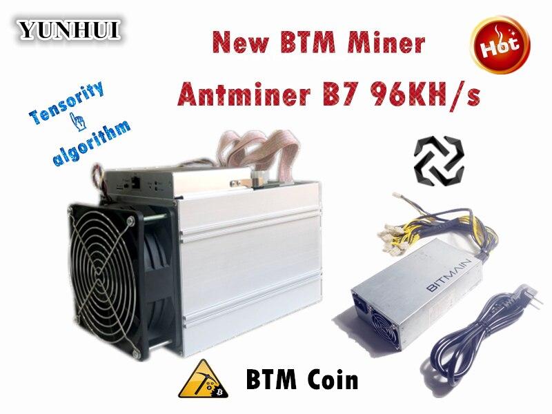 Новый Antminer B7 96KH/s 528 W BTM шахтер с BITMAIN 1600 W PSU Asic Tensority Шахтер шахты BTM лучше чем Antminer S9 S11 S15 A9 Z9