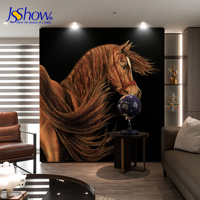 Merveilleux Jsshow Custom 3d Wallpaper Living Room Decoration Photo Mural Bedroom  Wallpaper Modern Horse Brown 3D Wall