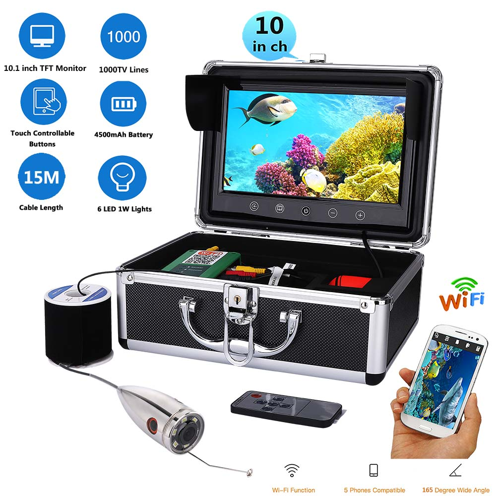 GAMWATER 15M 20M 30M 50M 1000tvl Underwater Fishing Video Camera Kit 15m Cable Fish Finder WiFi Wireless Supports Video Record