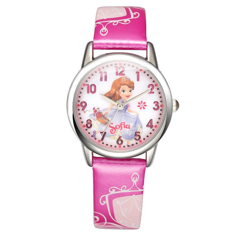 דיסני אמיתי ילדי שעונים ילדה עור קוורץ שעונים סטודנטים עמיד למים קריקטורה סופיה נסיכה ורוד סגול אדום שעוני יד