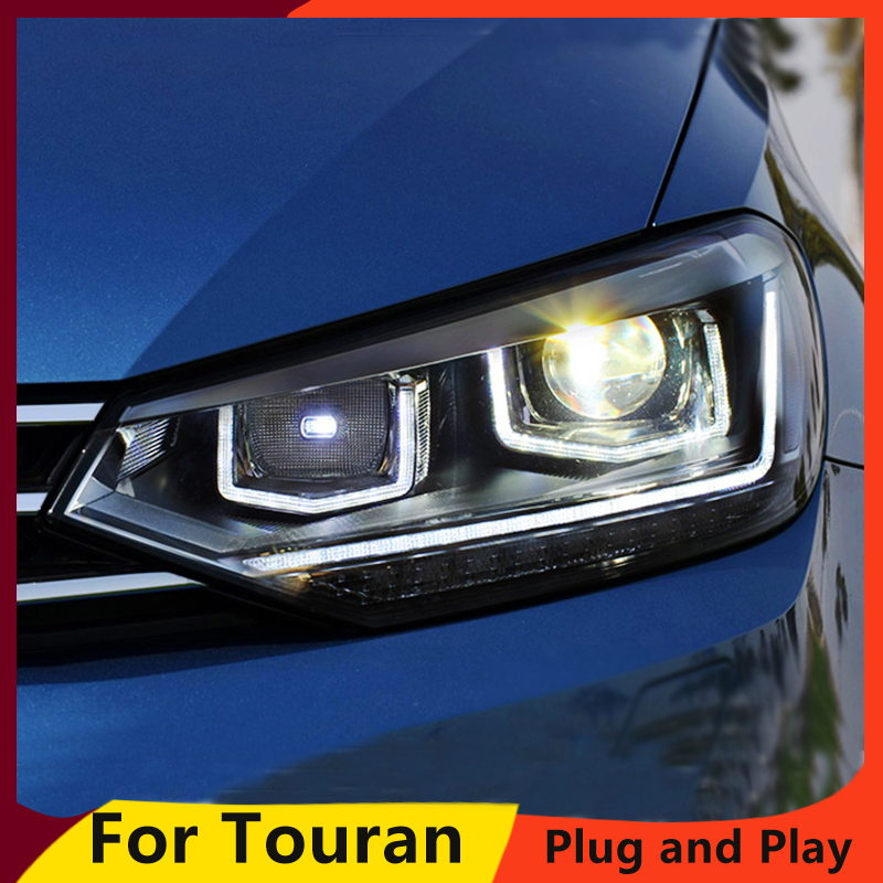 KOWELL Car Styling For VW Touran headlights 2016 For Touran head lamp led DRL front Bi