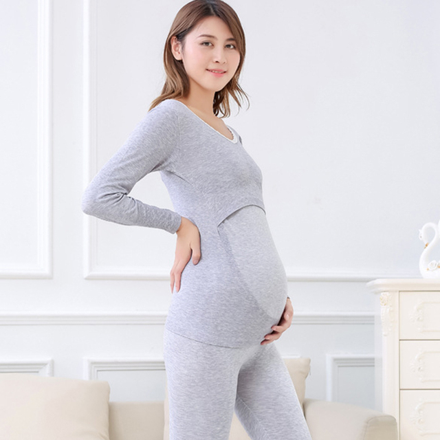 2018 Maternity Nursing Pajamas Set Long Sleeve Cotton Breastfeeding Tops+full Length Pants Lactation Clothes Set For Winter