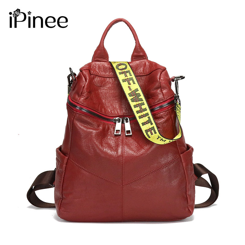 iPinee Brand Women Backpack Genuine Leather School Backpacks For Teenage Girls Cowhide Shoulder Bag Large Capacity Travel Bags zency genuine leather backpacks female girls women backpack top layer cowhide school bag gray black pink purple black color